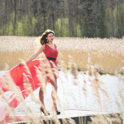 Das rote Kleid.